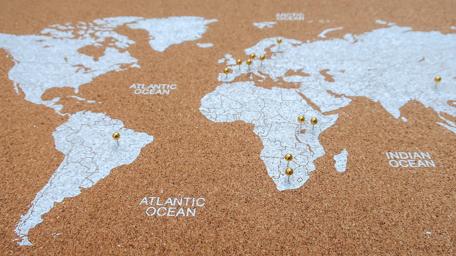 A world map that has pins in it to show someone's travel destinations.